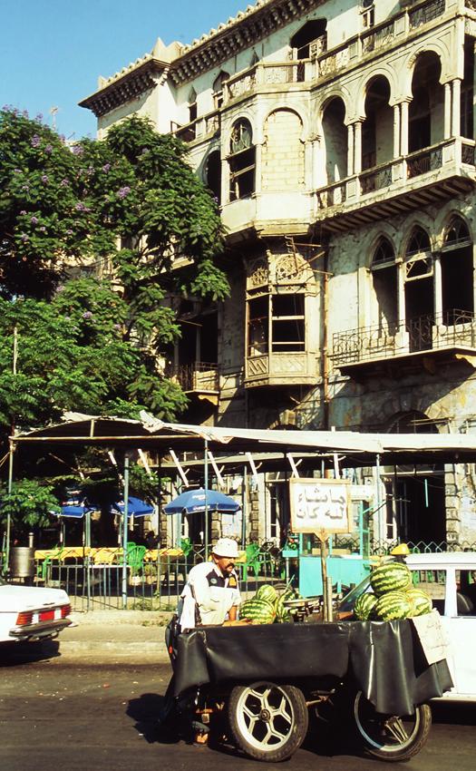 Ambulant fruit merchant in Tripoli town centre North Lebanon