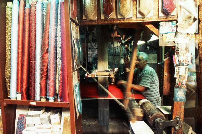 Weaver in Souk El Harir, Damascus Syria.j