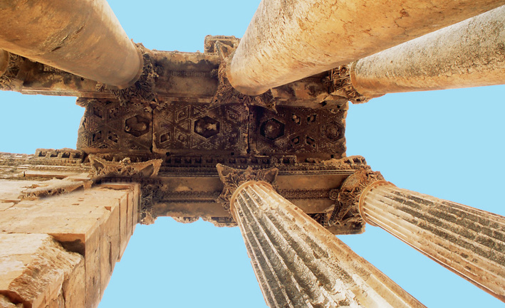 Corinthian capitals and columns, Temple of Bacchus, Baalbeck, Lebanon