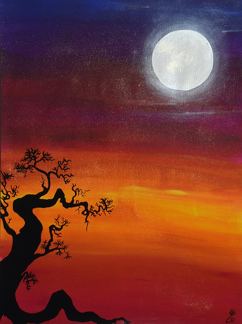 Full moon and crooked tree