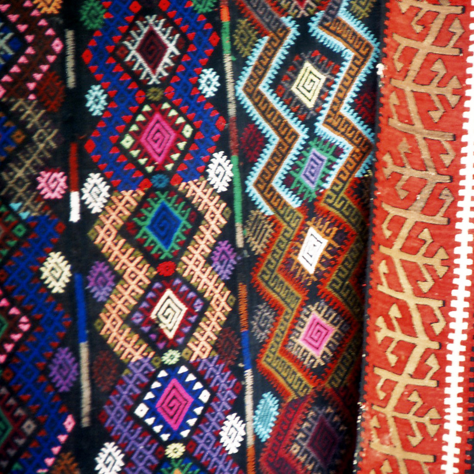 Close up of rugs in town centre, Damascus