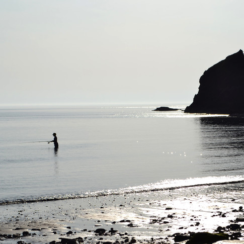 Sunset fishing in St David's, Wales