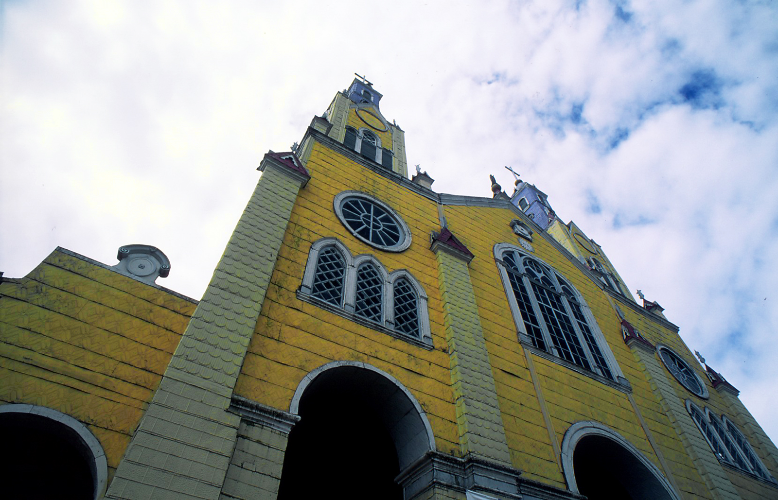 Church on the main square, Castro, Island of Chiloe, South Chile