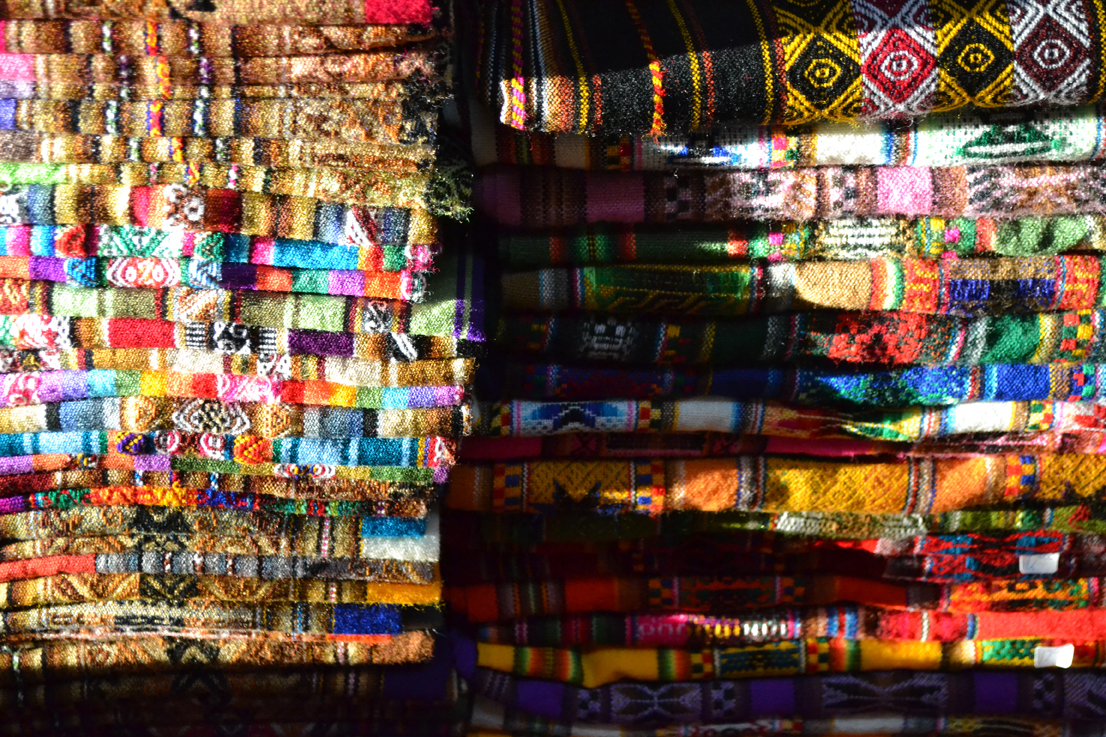 Close-up of colourful fabric - Chile