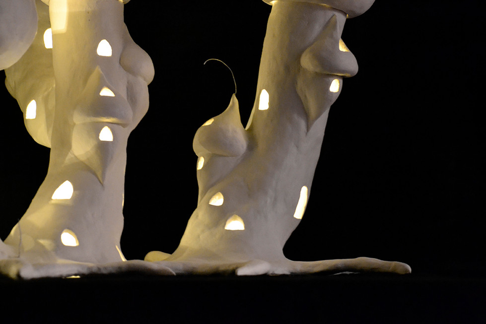 "Unpainted Cental Treepalace of ""Treepalace of Peace and Energy"" installation."