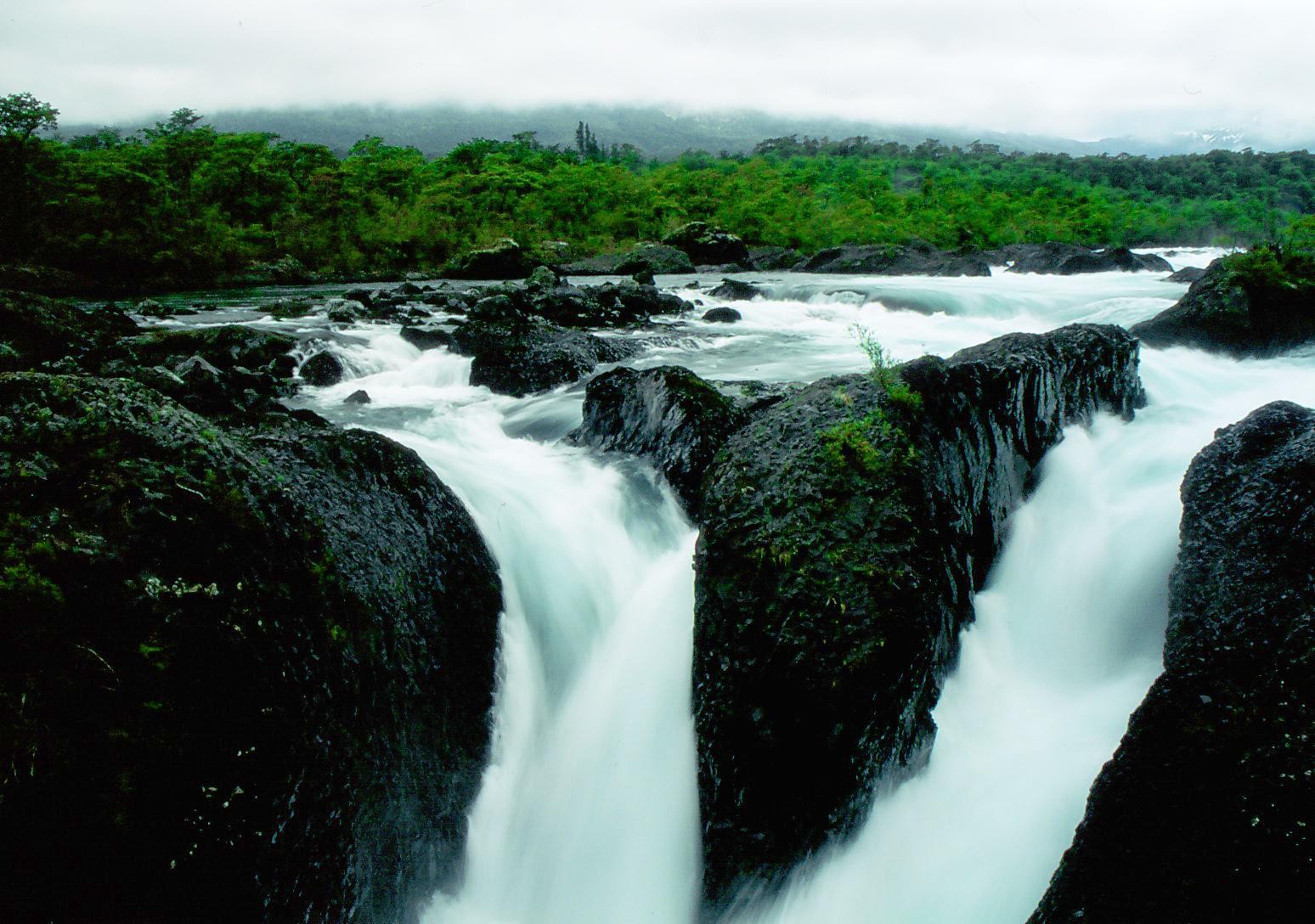 The Petrohue Falls at Petrohue National Park Chile