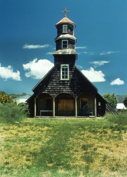 Wooden Church in the south of the Isle of Chiloe, South Chile