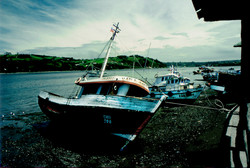 A boat in Dalcahue Isle of Chiloe South Chile