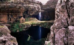 Natural waterfall through the open cavern at Balaa, Tannourine, North Lebanon