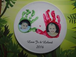 Handprint art plate with a photo