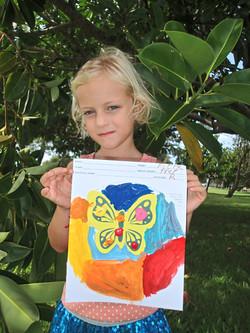 Children's art on a template