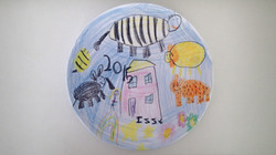 Child;s drawing on a plate