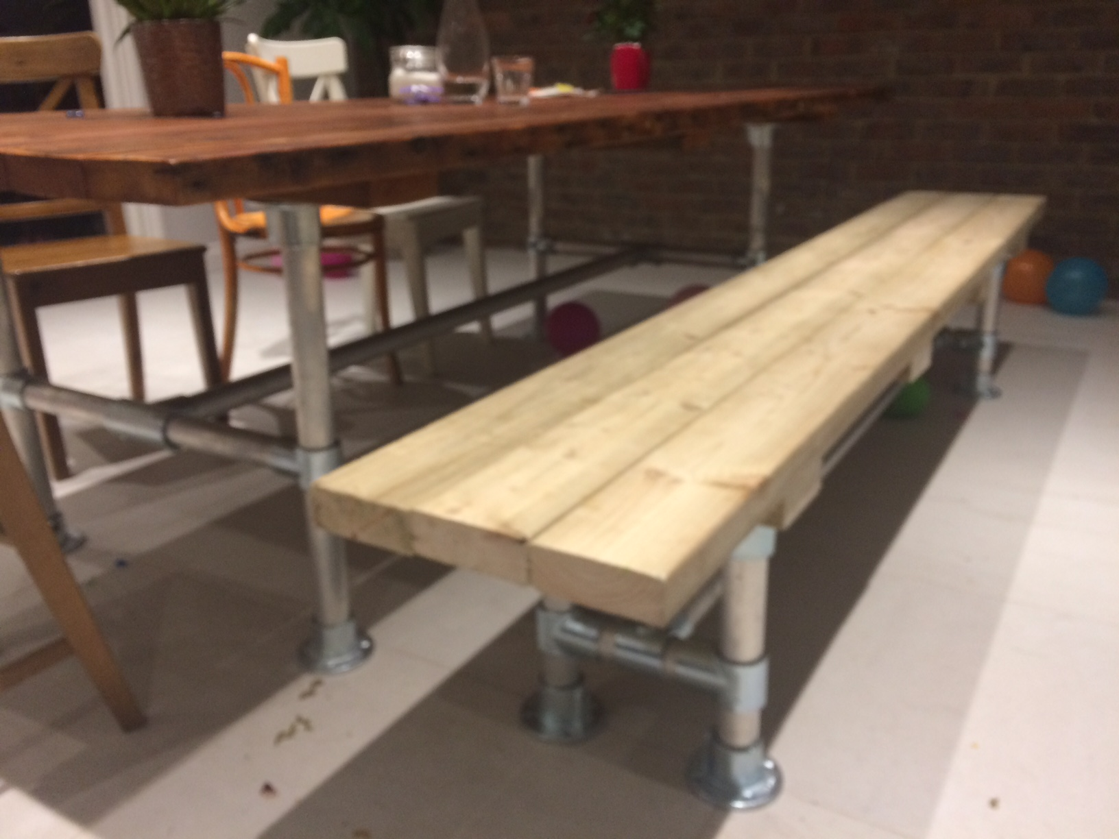 bench and table built