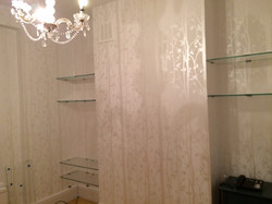 living room wallpapered