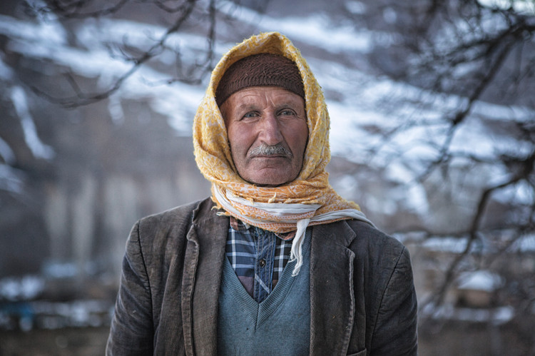 The Villager in Yellow Hood. Van, Turkey. February 2017.