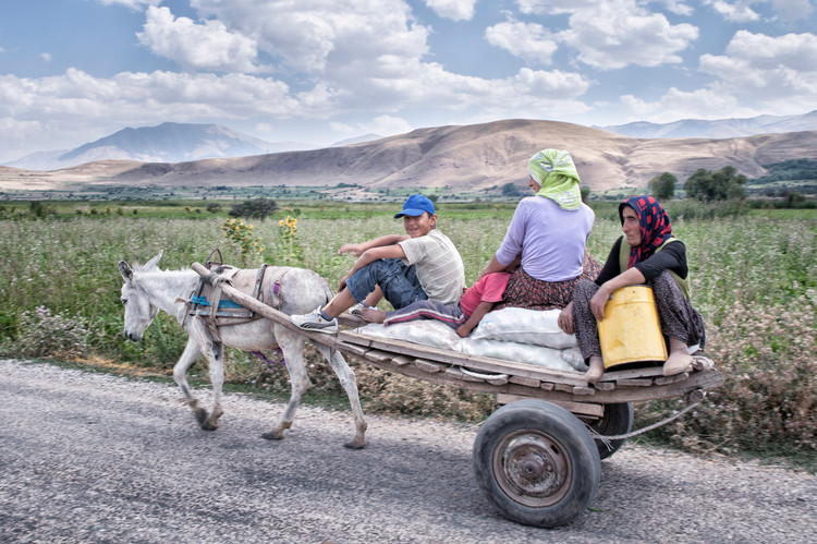 A family returning from field. Van, Turkey. August 2011.