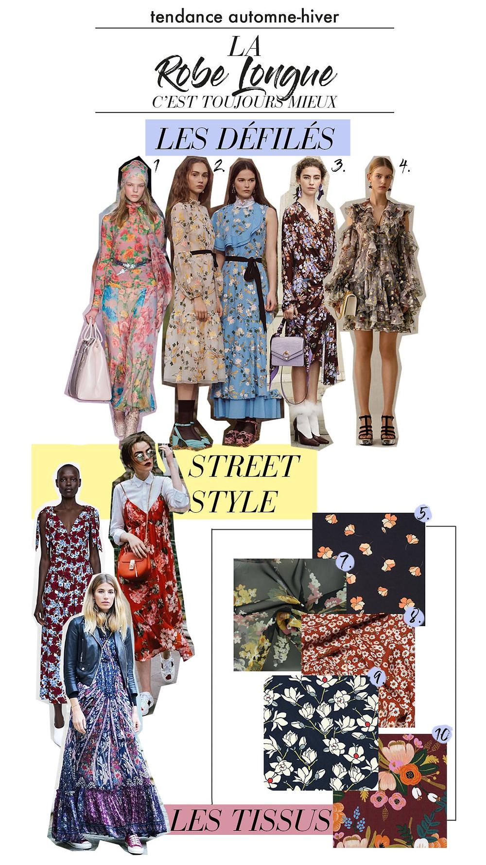 collage avec inspirations des défiles, tissus et autres inspirations