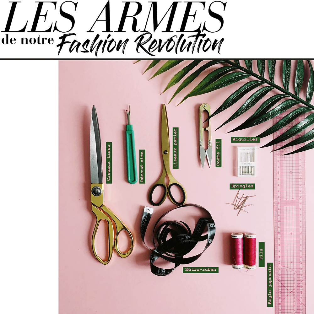 Outils couture : ciseaux, coupe fil, découd-vite, fils, mètre, aiguilles, épingles