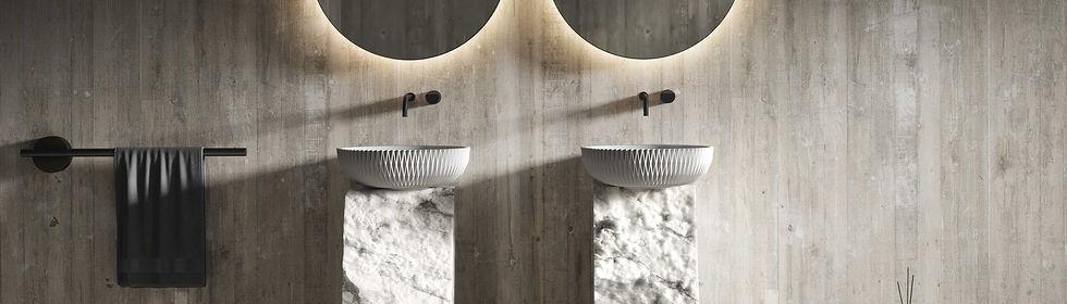 Badezimmer mit Vesta Waschbecken der SKANDIKA Kollektion von Sandhelden