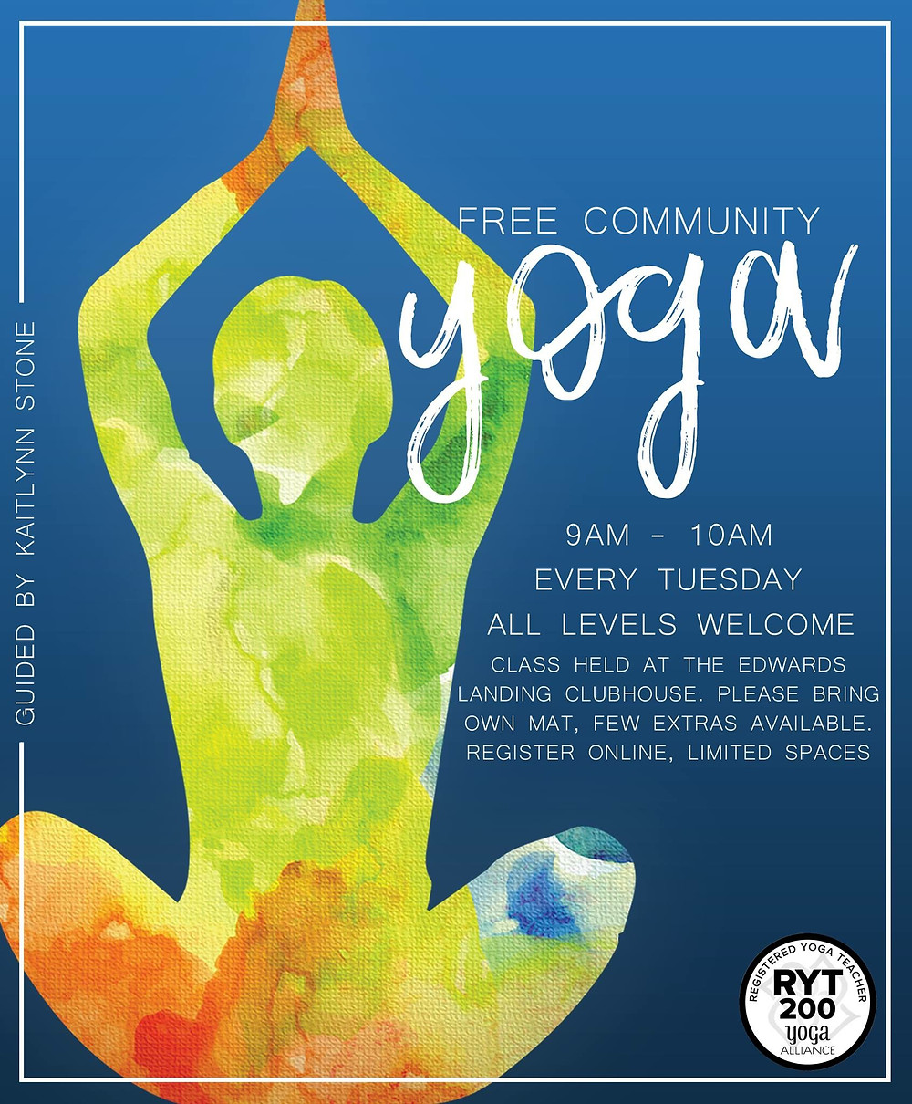 Kaitlynn Stone Free Community Yoga Class Flyer Design