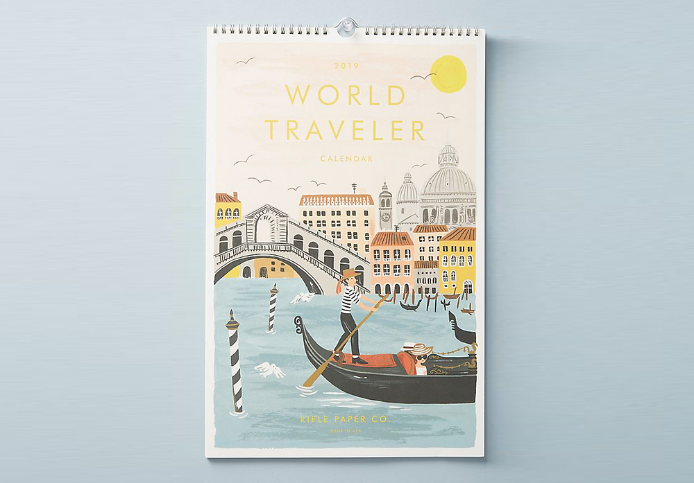 Rifle Paper Company 2019 World Traveler Calendar Urban Outfitters  Review Kaitlynn Stone January February March April May June July August September October November December Illustrations