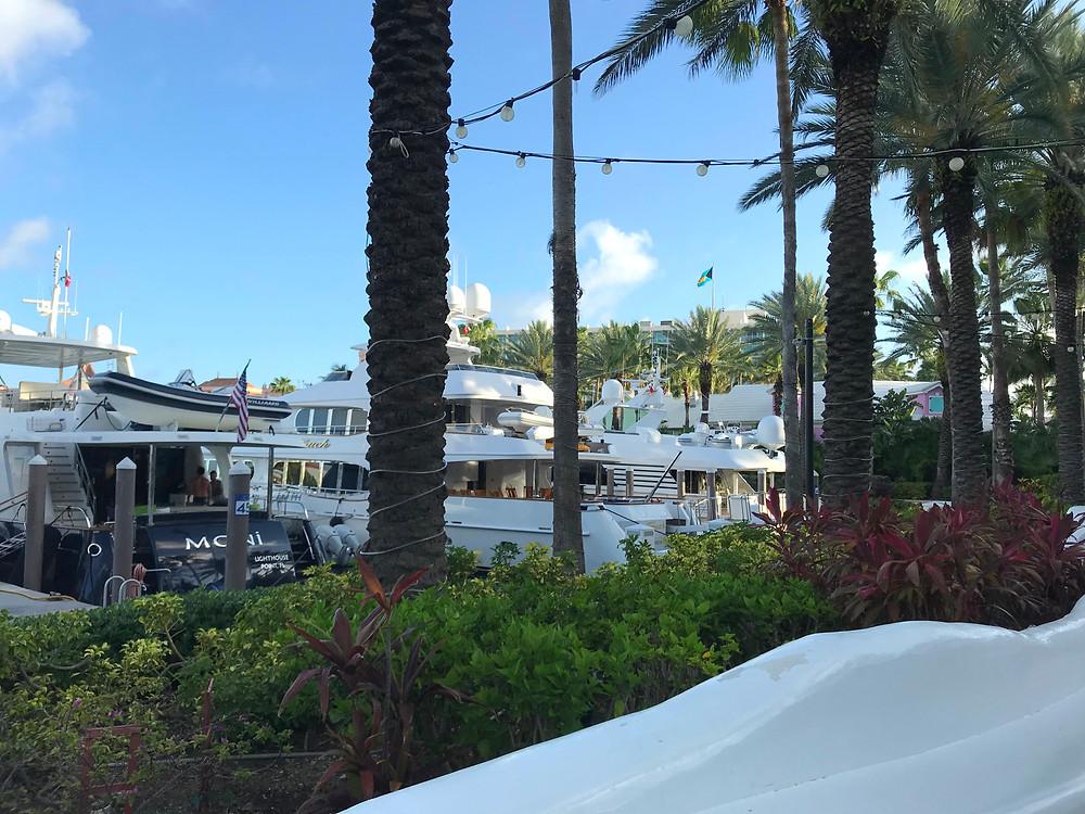 Luxury yachts docked at Marina Village on Paradise Island