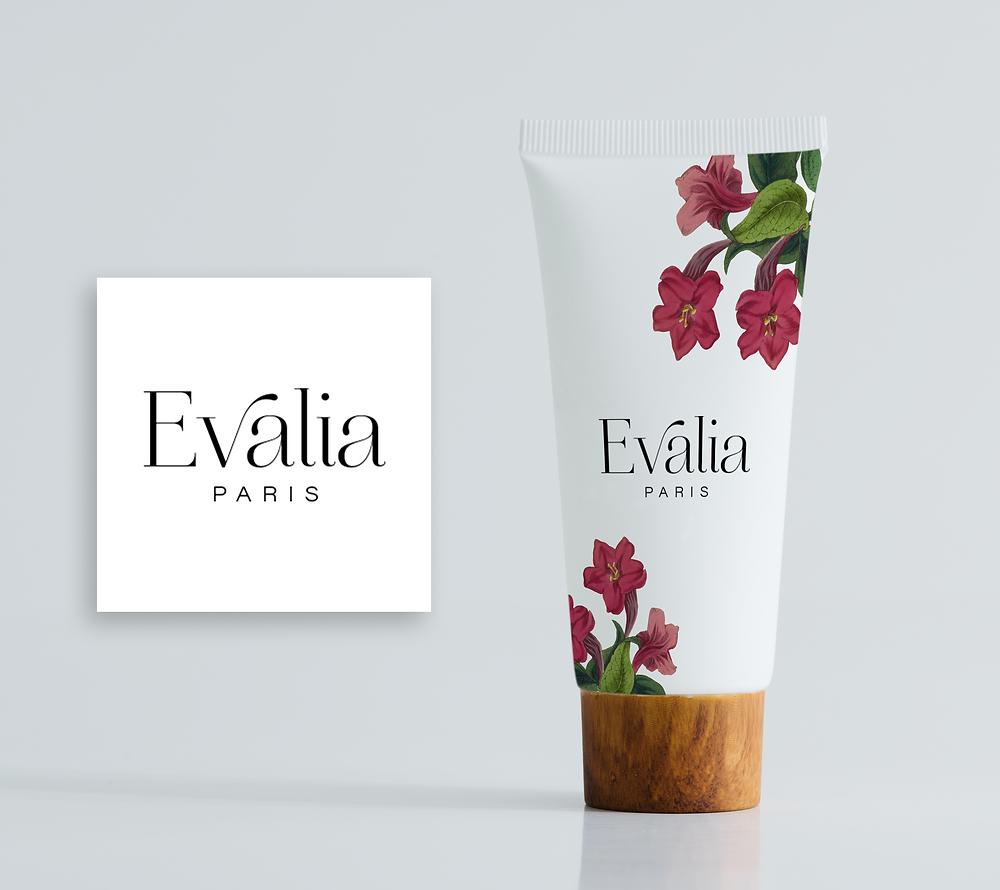 Evalia Paris Skincare Line Logo Design and Branding by Kaitlynn Stone