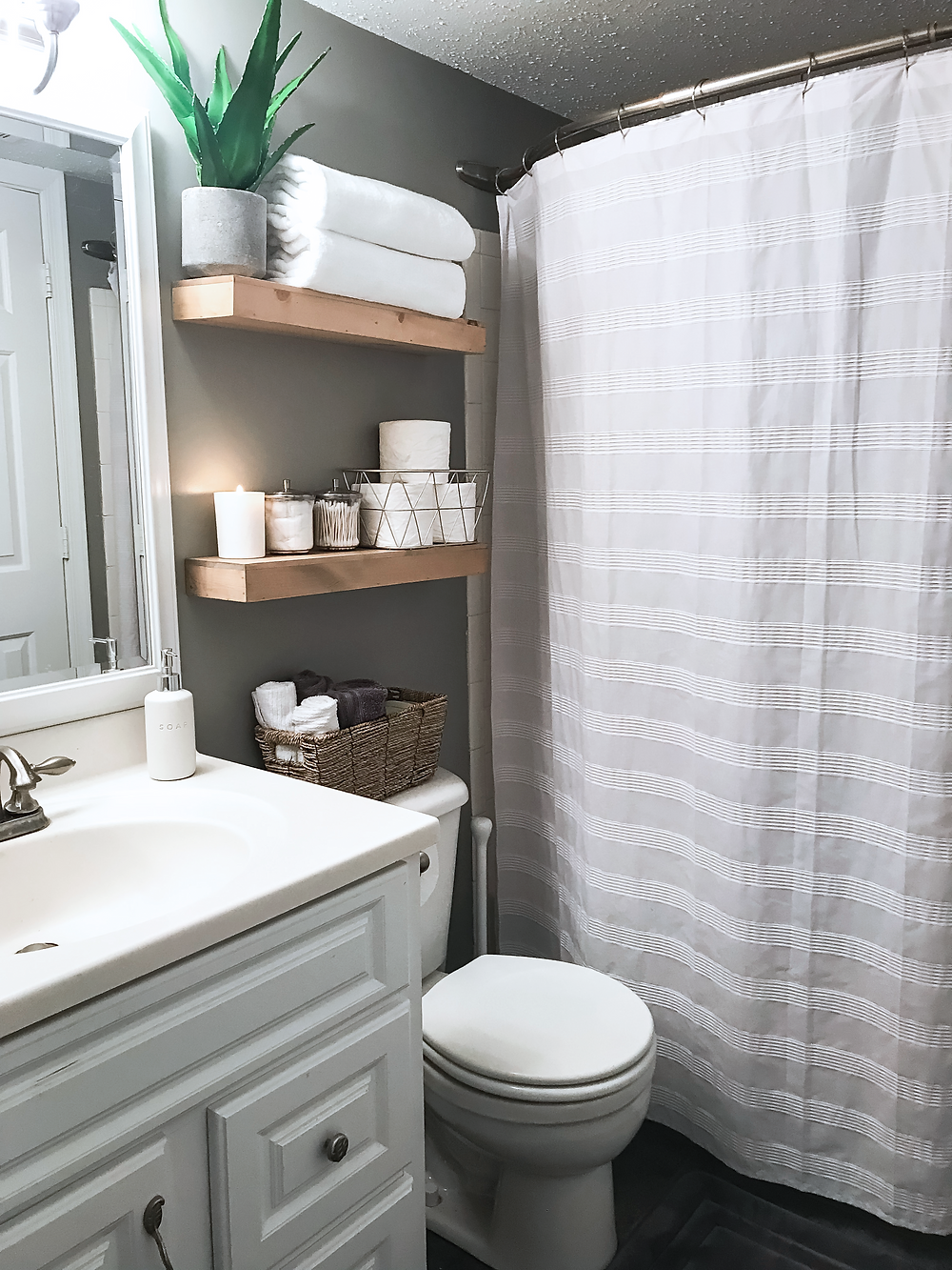 Kaitlynn Stone Easy Way to Upgrade Your Small Rental Bathroom