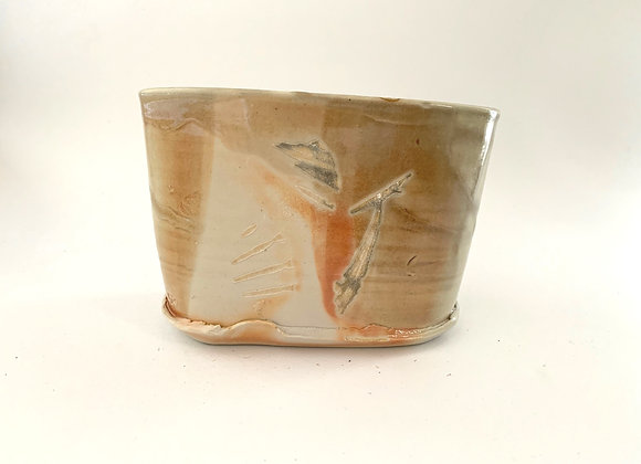 Oval Ikebana Vase #175,  17 x 8.5 x 11.5cm (by Sue McFarland)
