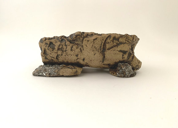 Handbuilt Rock Container #183, 17 x 10.5 x 6cm not incl. feet (By Sue McFarland)