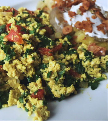 "Tofu Scramble with ""Smashed"" Potatoes & Coconut Bacon"
