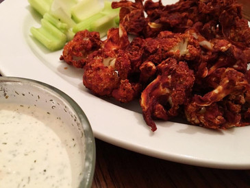"Raw Cauliflower ""Wings"" With Ranchy-Dip!"