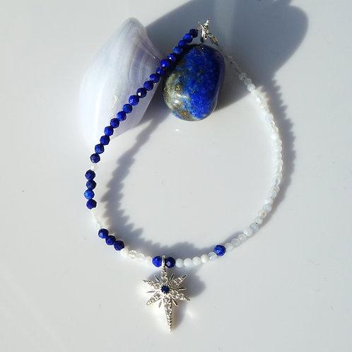 Браслет лазурит, голубой агат с серебром