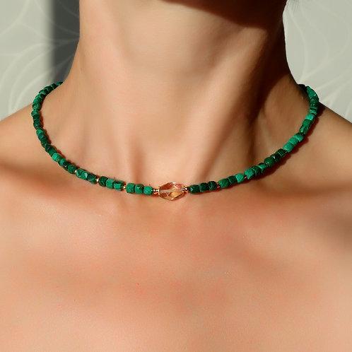 Ожерелье малахит с аметрином