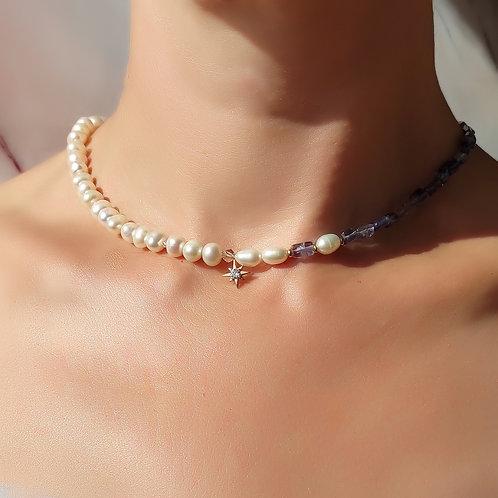 Ожерелье иолит с жемчугом