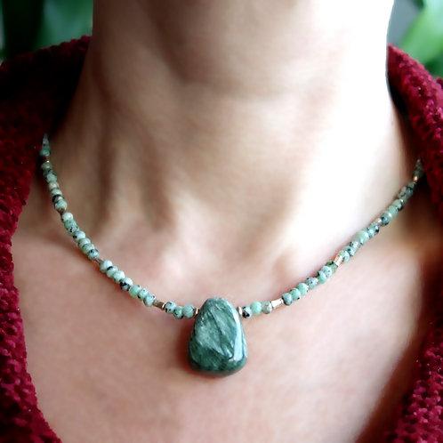 Ожерелье циозит с серафинитом