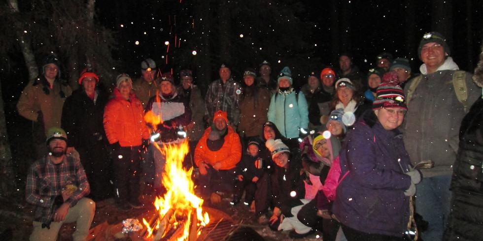 Moonlight Snowshoe/Camp Fire Near Sturgeon River Trails