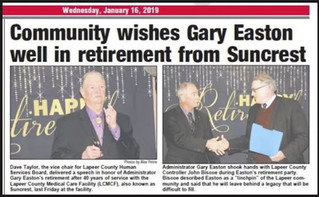 Community Wishes Gary Easton Well In Retirement from Suncrest