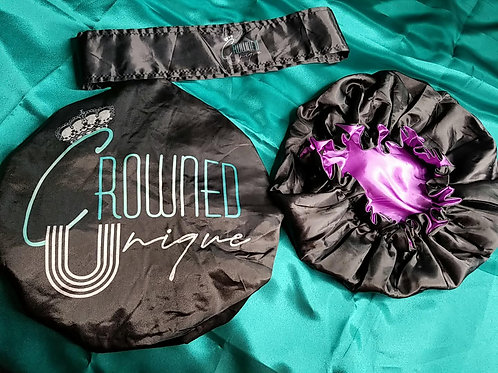 Satin Bonnet & Head Wrap Set