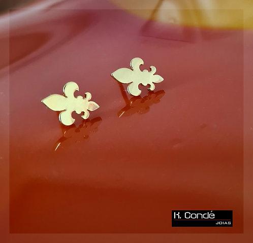 Brinco Flor de Lis com banho de ouro