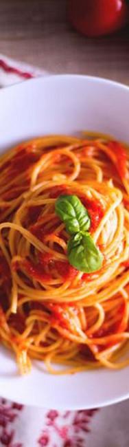 Spaghetti, pomodorino e basilico