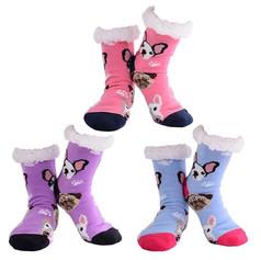 Purple dog design ladies slipper socks £7.99