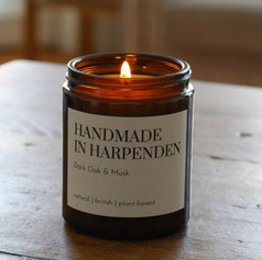 Handmade in Harpenden Dark Oak & Musk Candle £20