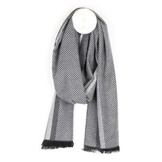 Peace of Mind Grey Herringbone Stripe Scarf £12.99