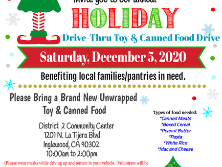 Toy & Food Drive This Saturday, December 5