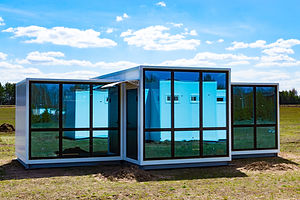 One-storey modular houses with large pan