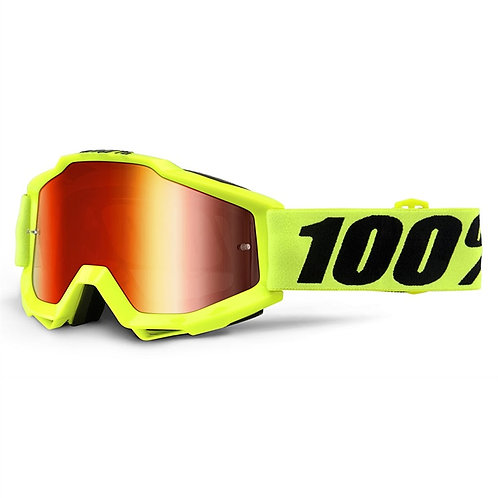 100% Accuri Goggle Fluo Yellow Red Mirror Lens