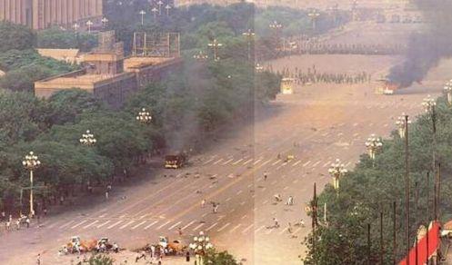 89年6月4日凌晨1时半以后,天安门城楼东侧东长安街南池子街南口,民众持