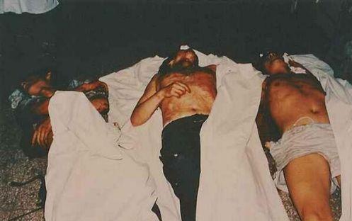 89年6月4日,北京医院中的死难者遗体。