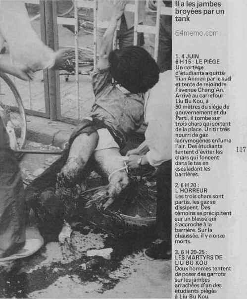 89年6月4日清晨,六部口,坦克追轧学生撤离队伍。